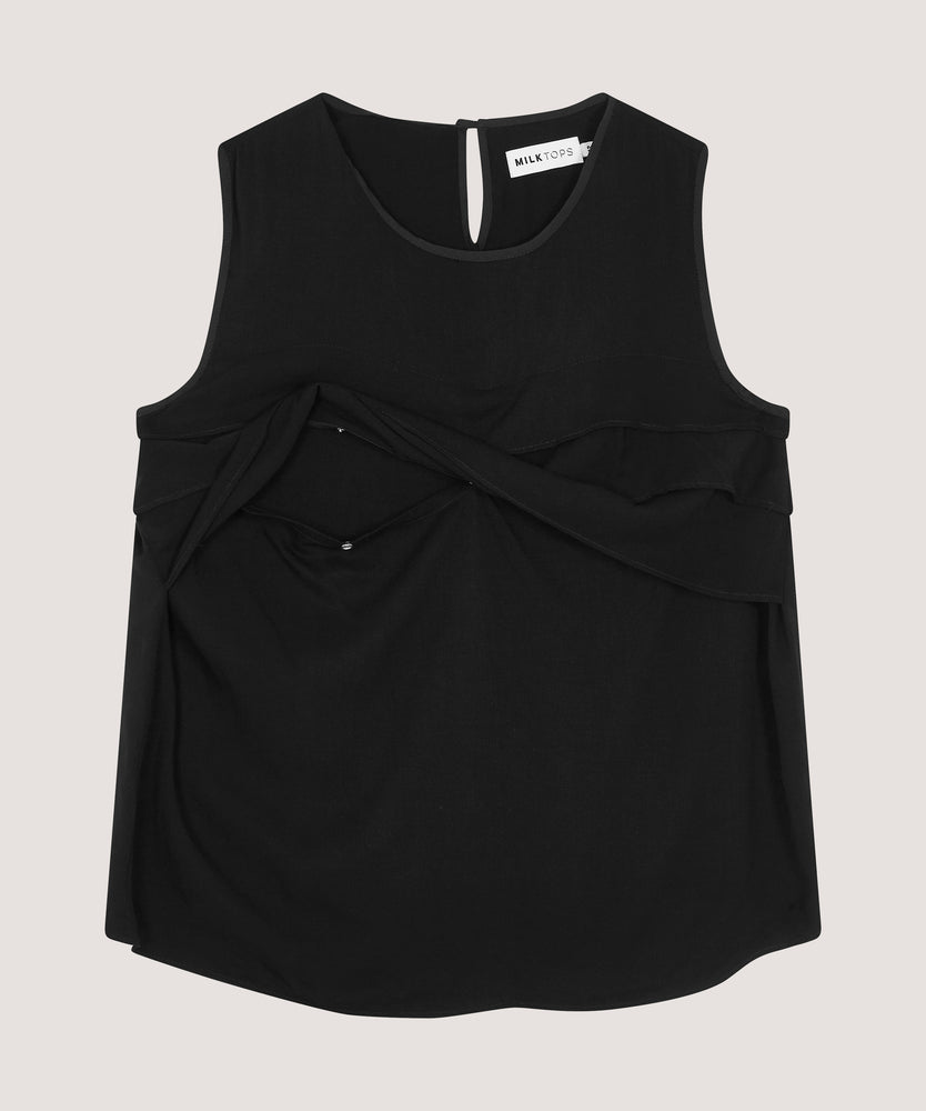 The Frill — Sleeveless Black Nursing Top