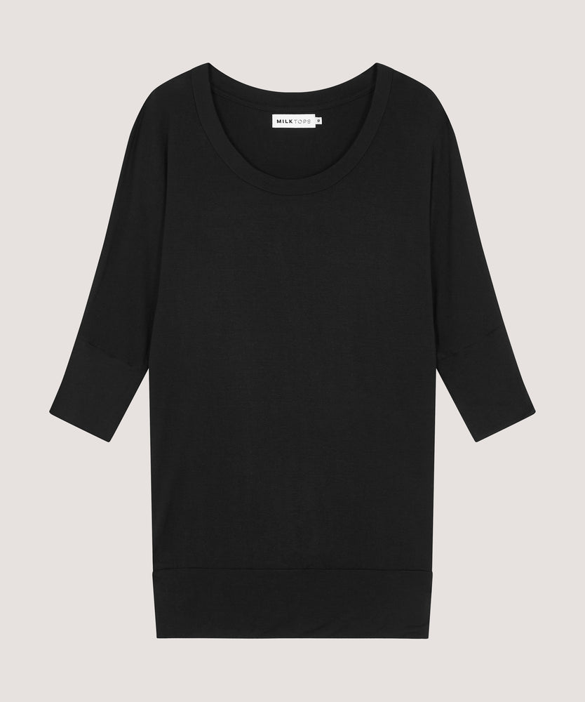 The Jersey (Black) — 3/4 Sleeve Nursing Top