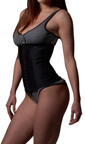 Waist Trainer Latex Steel Boned Cincher - Extra Firm Control (Black)