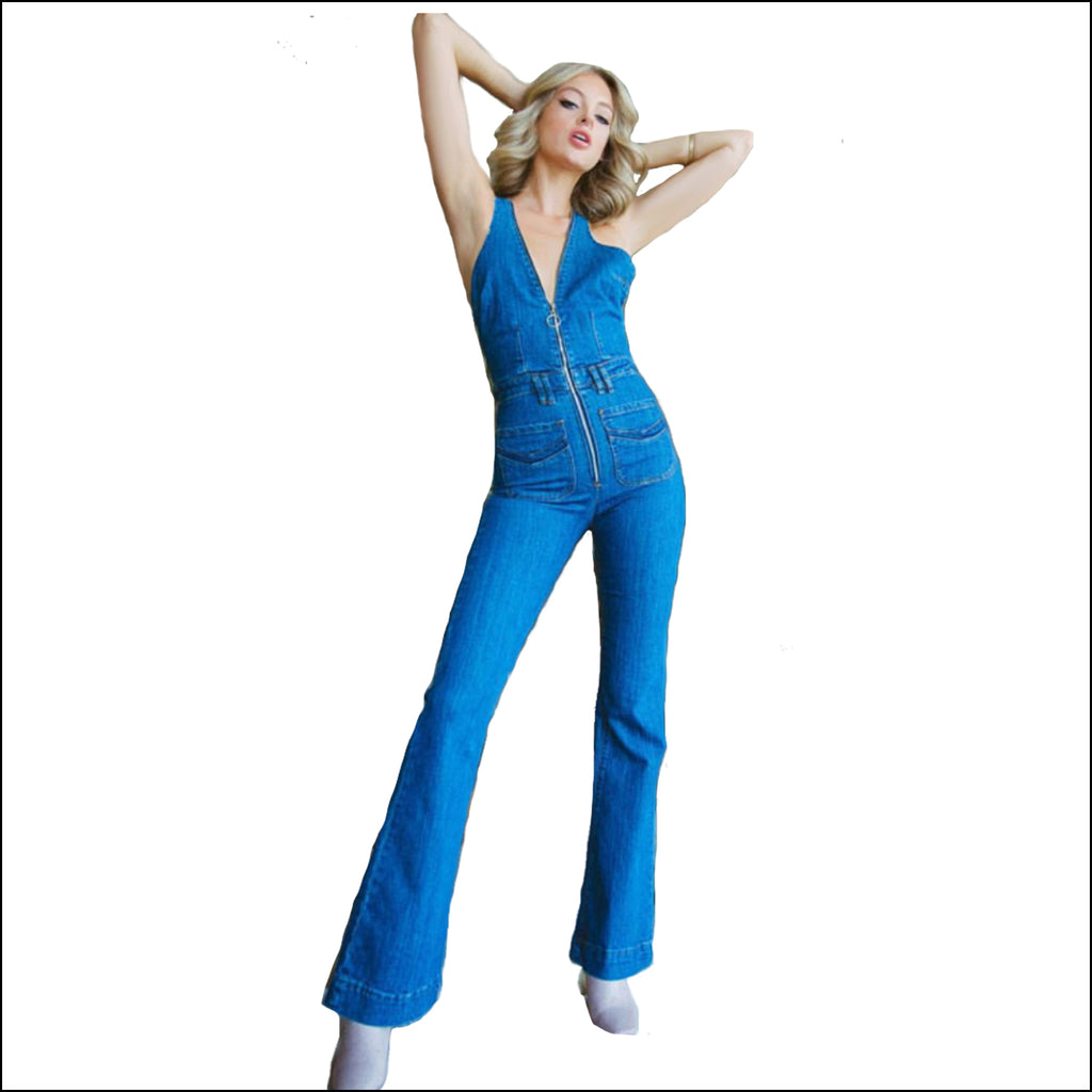 One Kiss Denim Jumpsuit - Echo90210