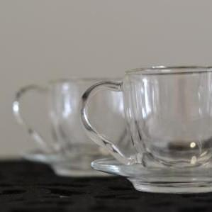 DOUBLE GLASS TEA CUP & SAUCER