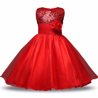 Red Tulle Gown Dress with Flower
