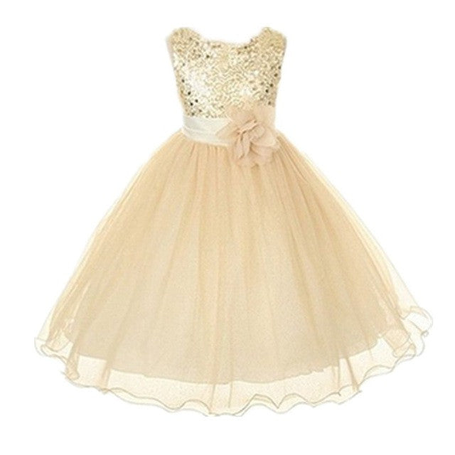 Sequin Flower Bow Tutu Dress
