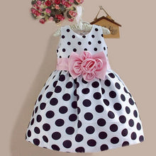 Polkadot navy blue and white with pink bow