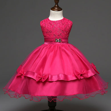 Fuchsia pink bows and lace dress