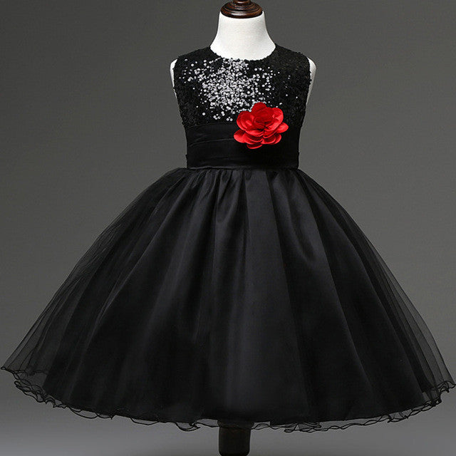 Sequin black dress with red bow