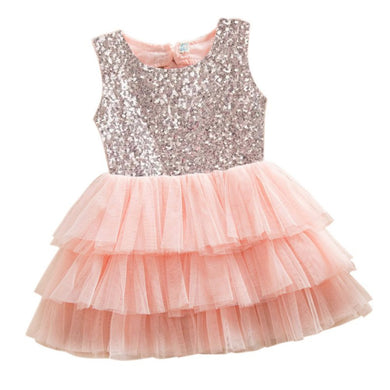 Princess Party Sequined Backless Bow Tulle Tutu Dress One Piece