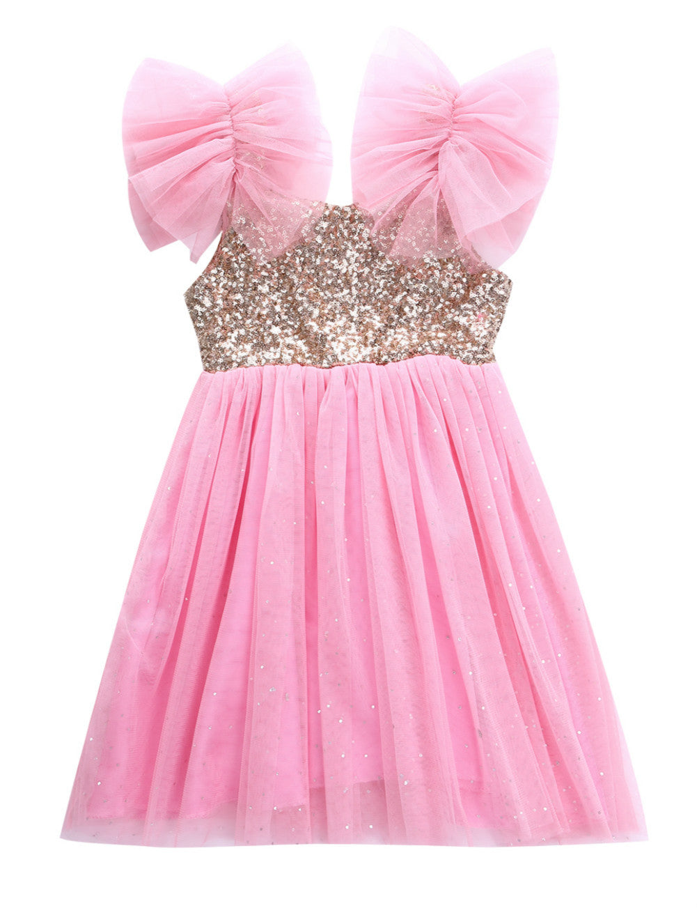 Sequins Pink Princess Dress with Bows
