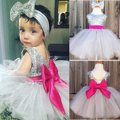 Sequins Ball Gown Headband Bow and Tulle