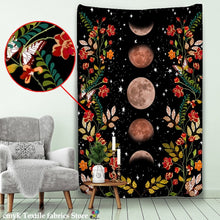 Heavenly Floral Lunar Phase Tapestry