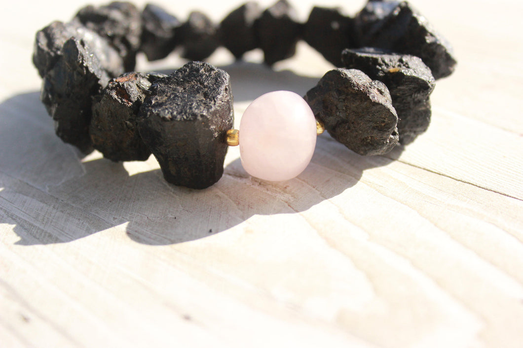 Black Tourmaline with rose quartz Bracelet