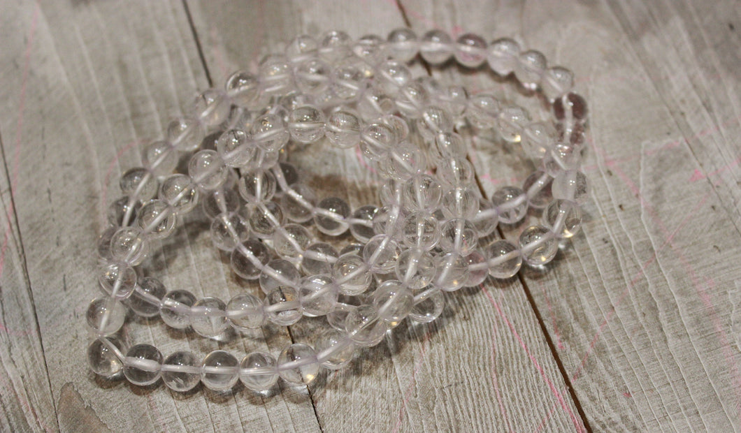 One Clear Quartz beaded gemstone Bracelet