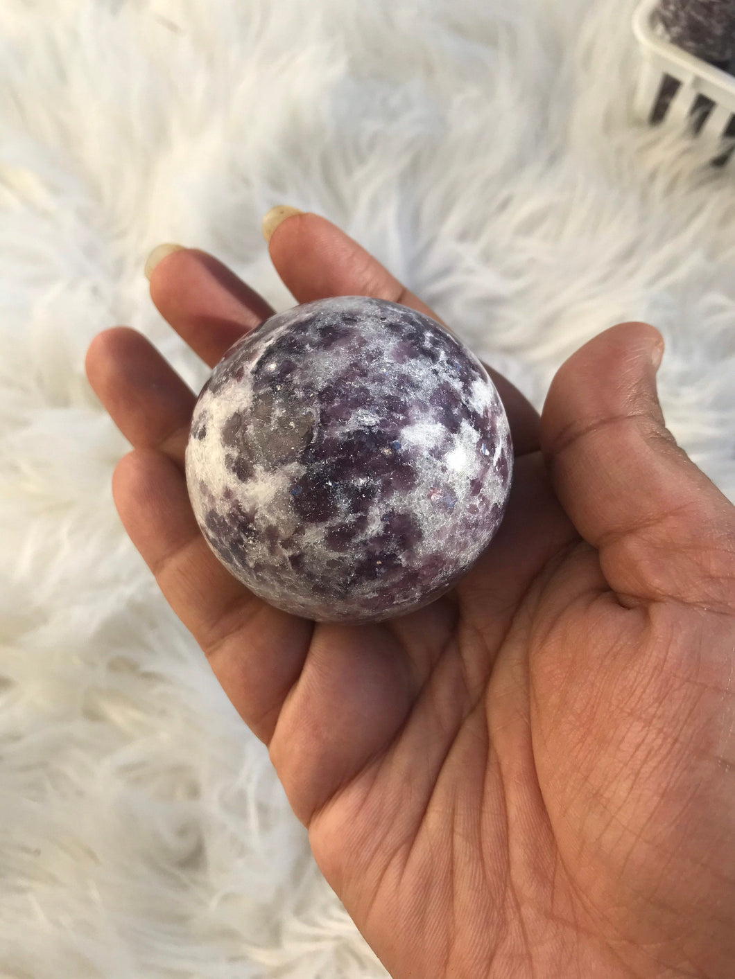 Large Size Lilac Lepidolite in Quartz sphere 1