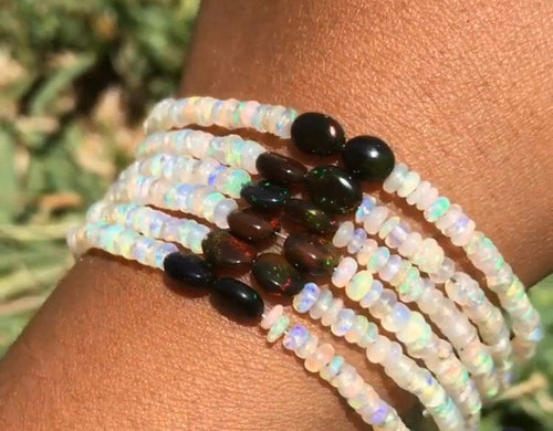 One Shimmering & Rare Ethiopian and black Opal Bracelets in 925 silver