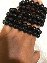 One 10mm black tourmaline  beaded gemstone Bracelet