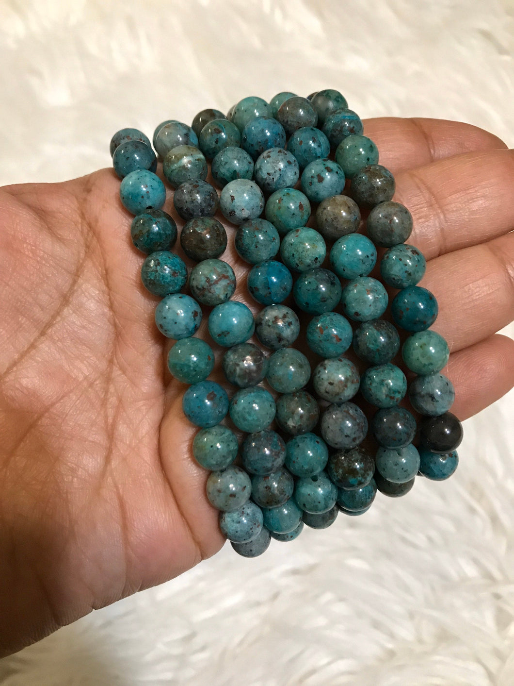 One 8mm chrysocolla beaded gemstone Bracelet