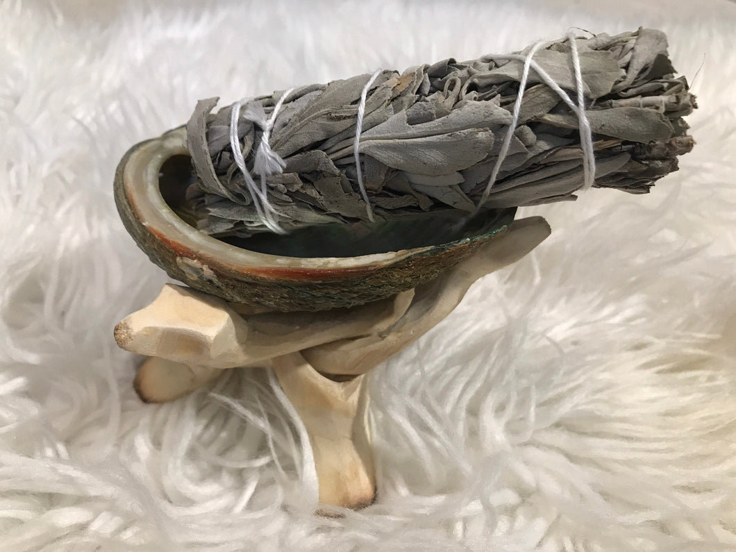 Abalone shell white Sage & Wooden Tripod Set for Smudging