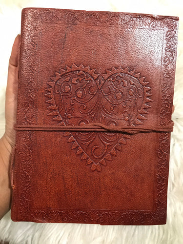 Heart Leather Journal Book 7x5""