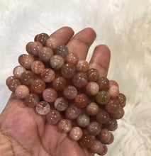 One 8mm Sunstone beaded gemstone Bracelet