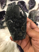 Black Amethyst druzy Coffin 14 Halloween shapes