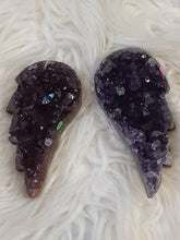 Dark & Red Amethyst Druzy Angel Wing Pair 2