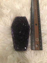 Large Dark Amethyst druzy Coffin 15 Halloween shapes