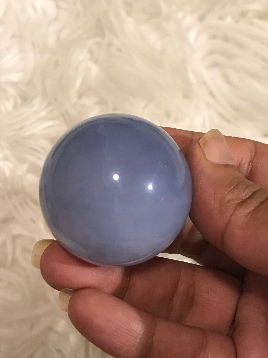 One 42mm Rare Blue Chalcedony sphere 4