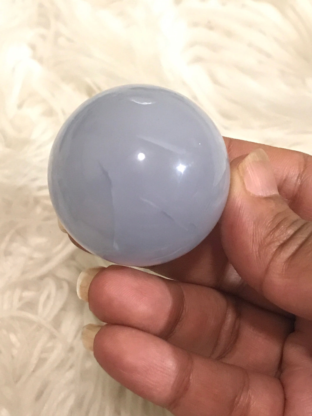 One 47mm Rare Blue Chalcedony sphere 6