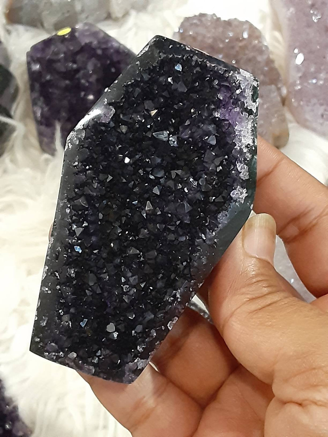 Dark Amethyst druzy Coffin 10 Halloween shapes