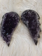 Dark large Amethyst Druzy Angel Wing Pair 3