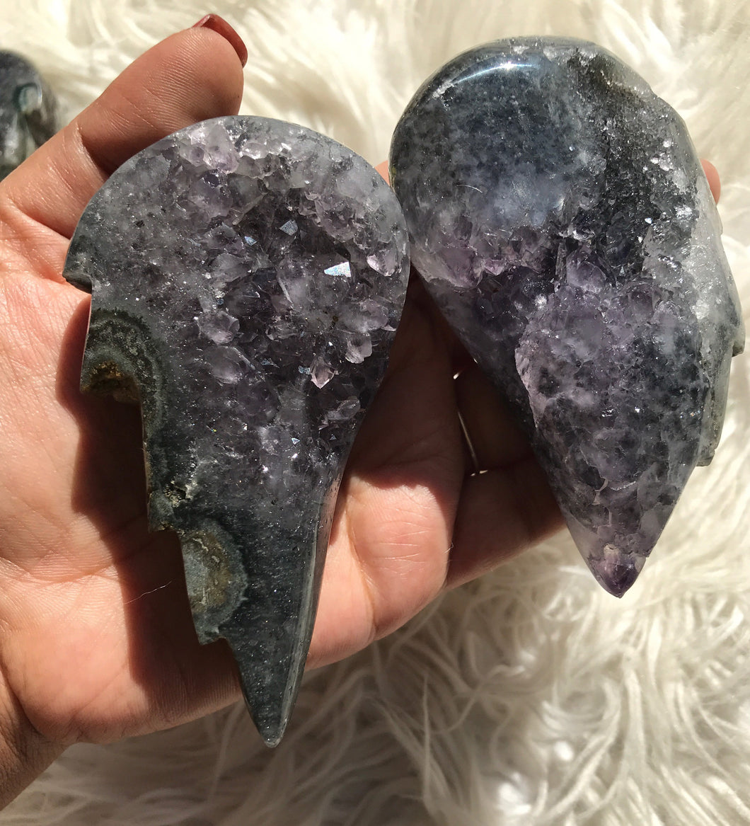 Amethyst Druzy Angel Wing Pair 10- Christmas Gift