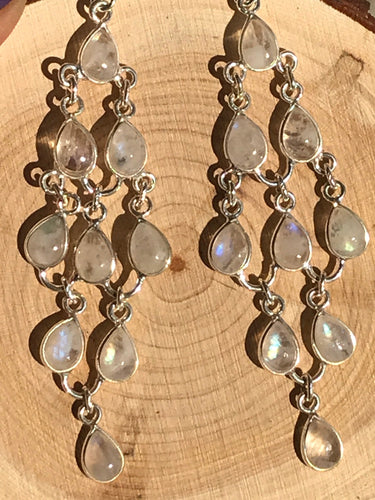 Gorgeous Rainbow moonstone Silver Earrings -4