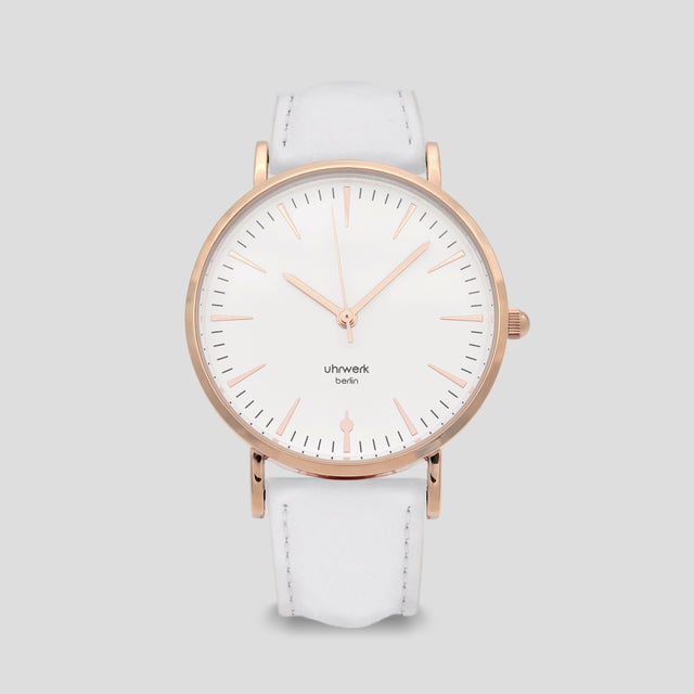 Paula Rose Gold - White Leather