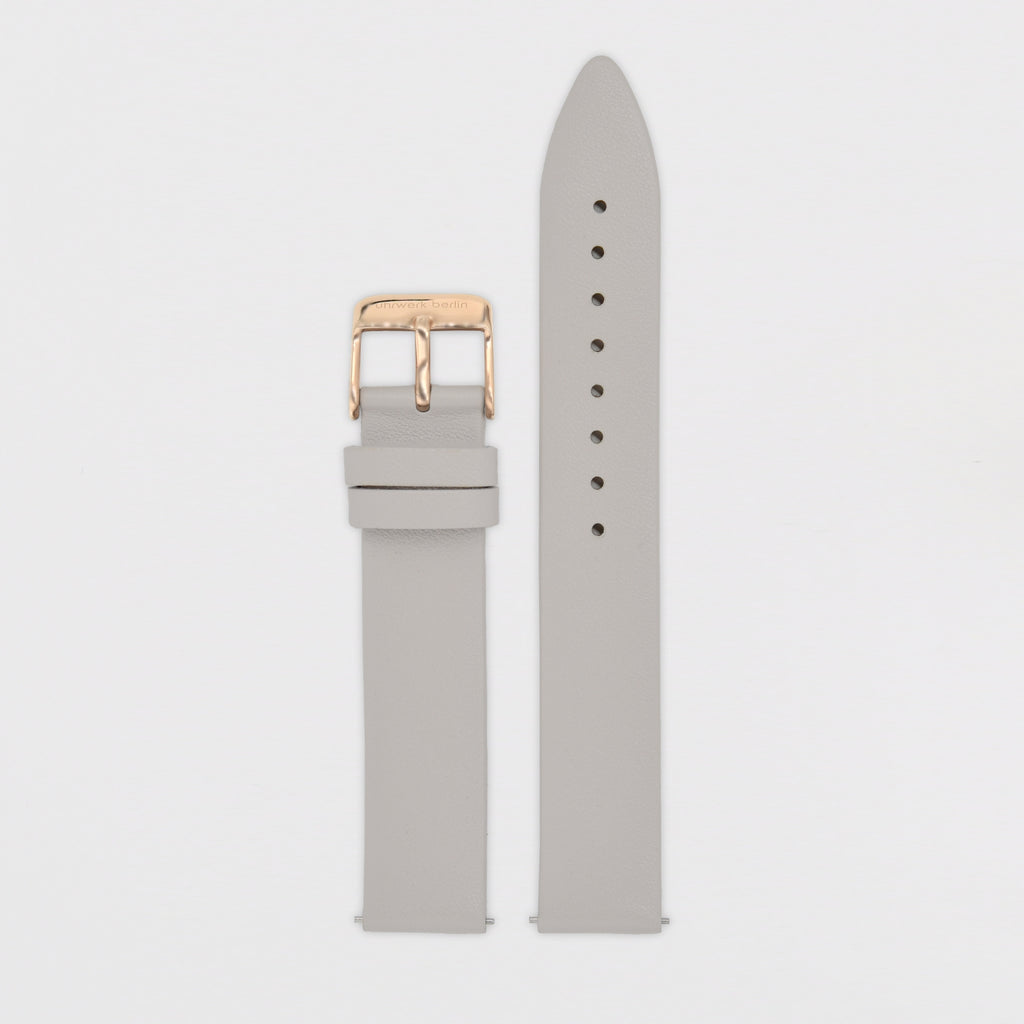 16mm Strap - Light Grey Leather / Rose Gold