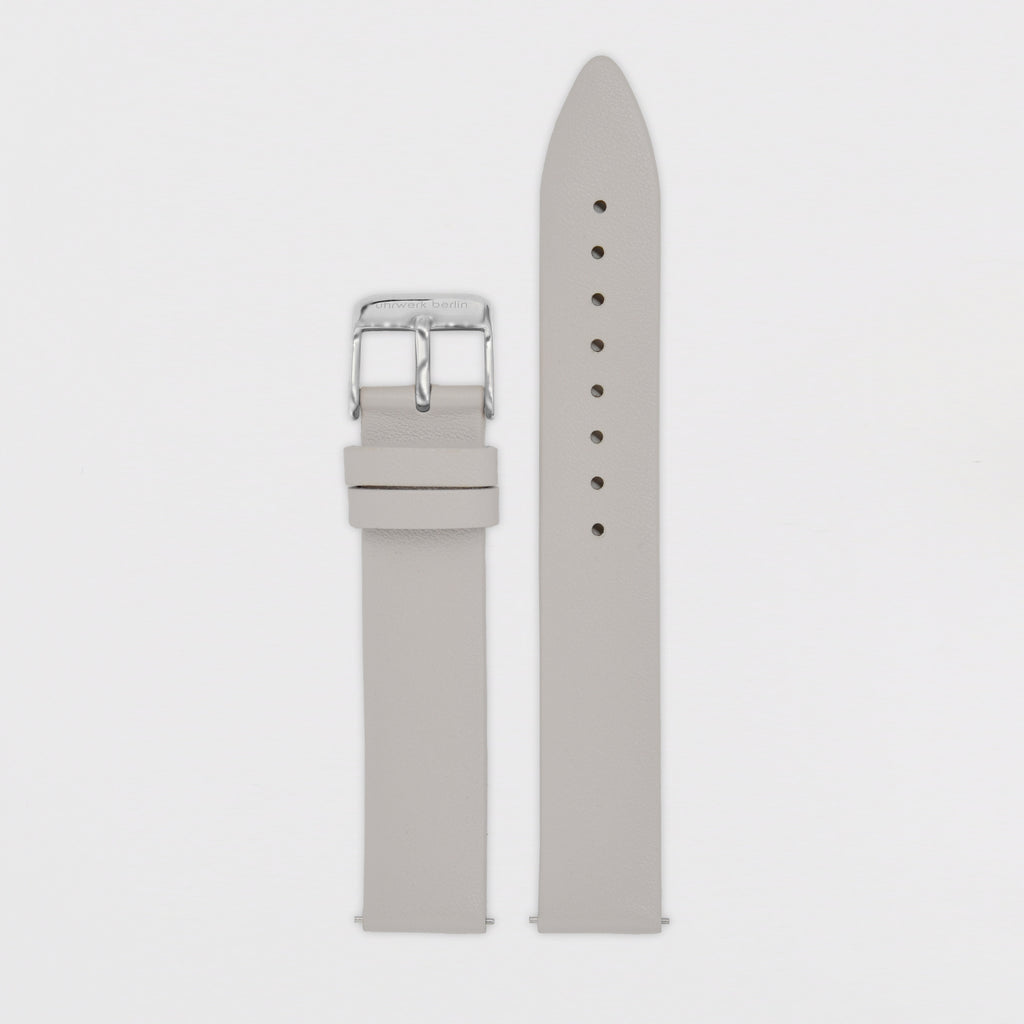 16mm Strap - Light Grey Leather / Silver