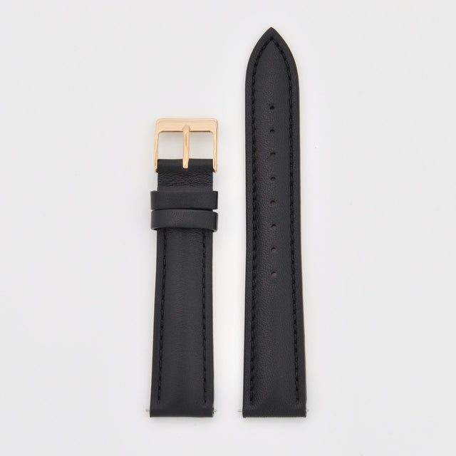 18mm Strap - Black Leather / Rose Gold