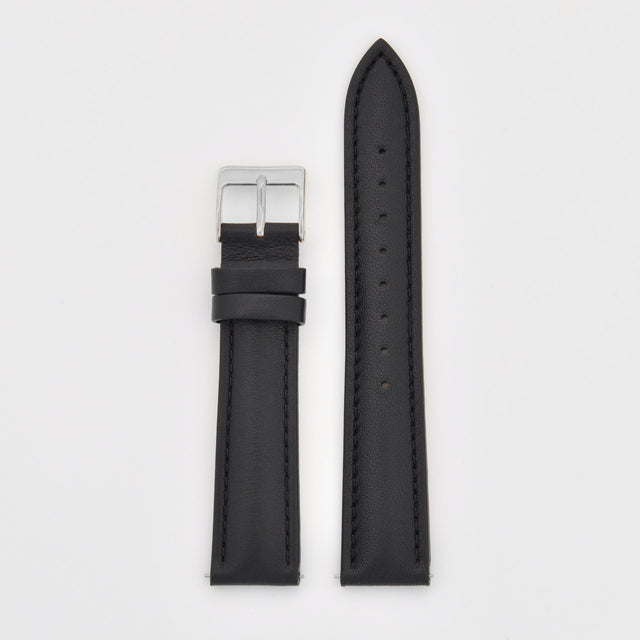 18mm Strap - Black Leather / Silver