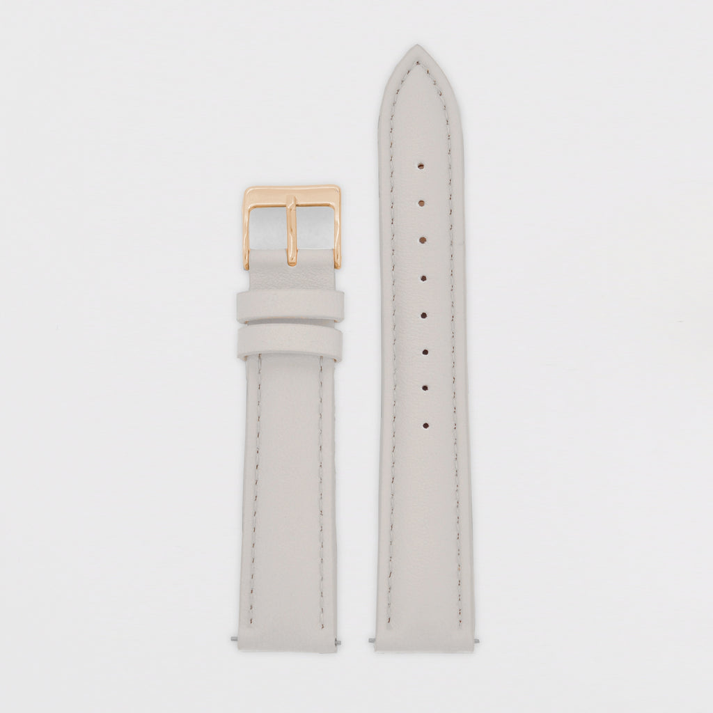 18mm Strap - Light Grey Leather / Rose Gold