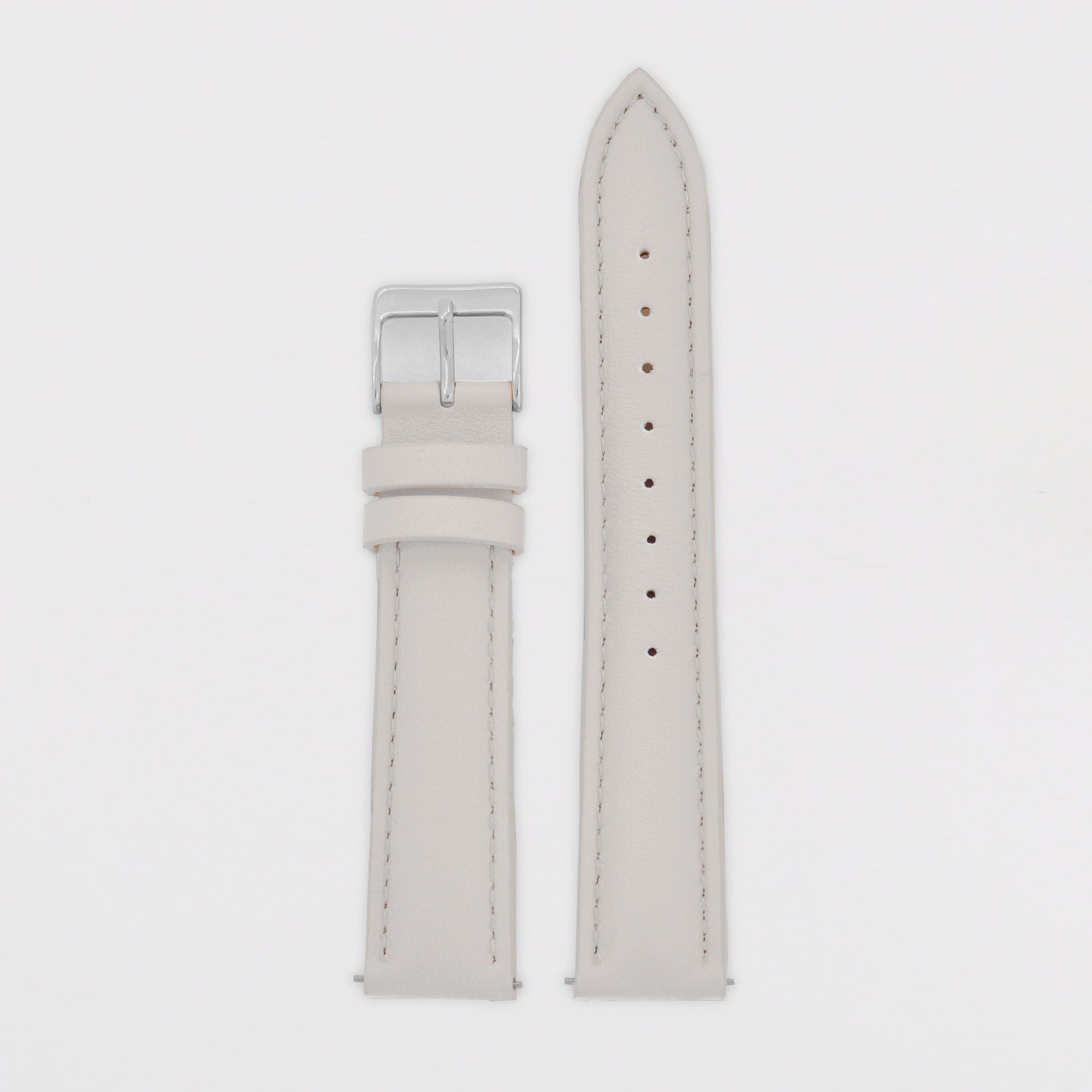 18mm Strap - Light Grey Leather / Silver