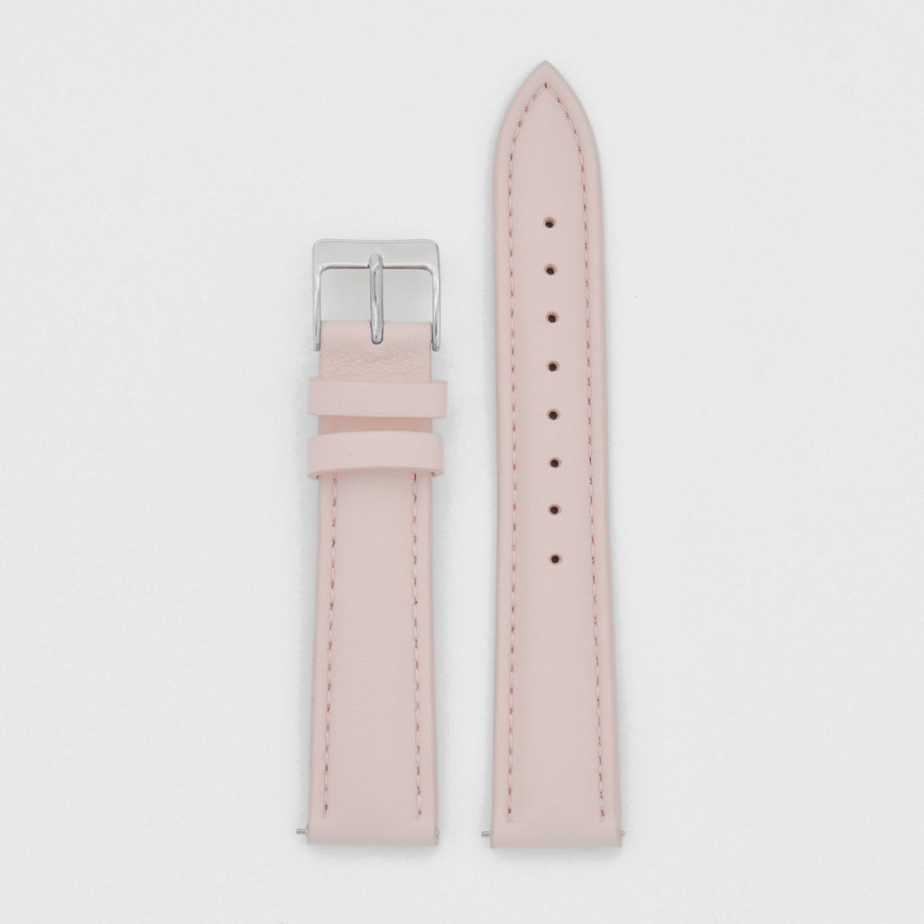 18mm Strap - Rose Leather / Silver