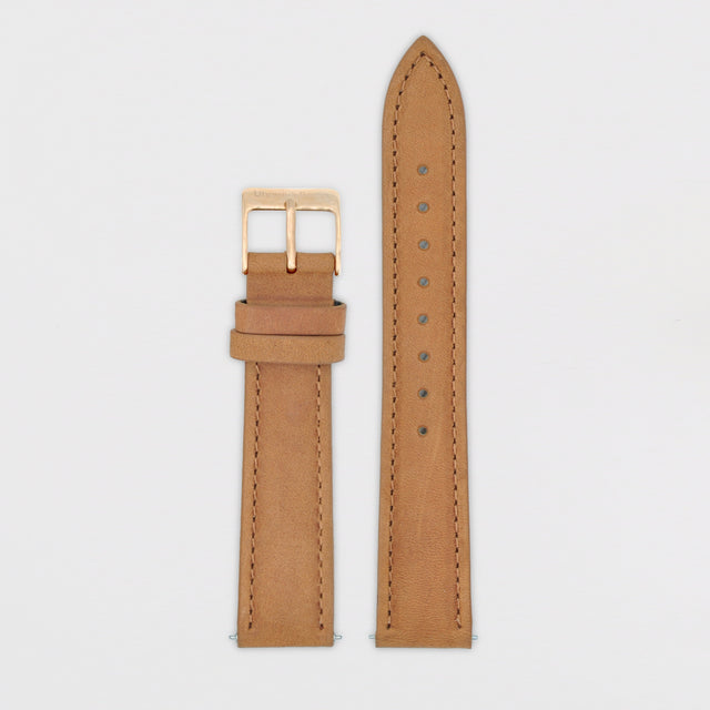 18mm Strap - Tan Leather / Rose Gold