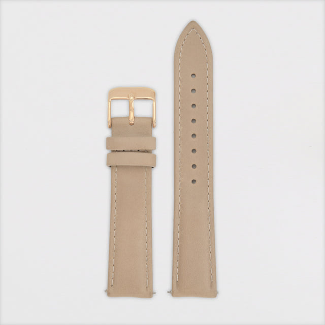 18mm Strap - Taupe Leather / Rose Gold