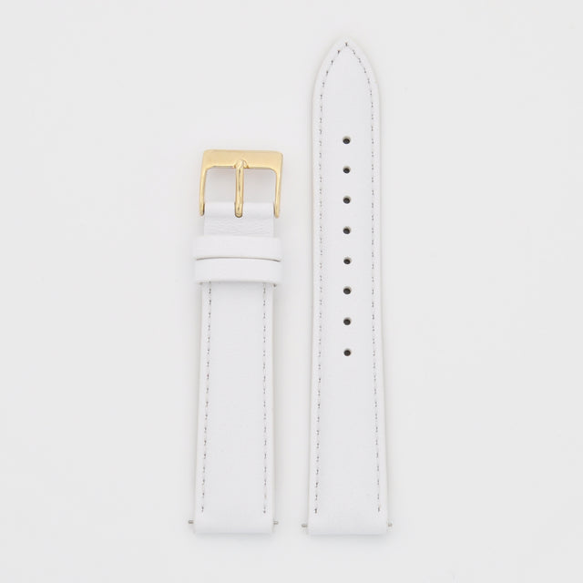 18mm Strap - White Leather / Gold