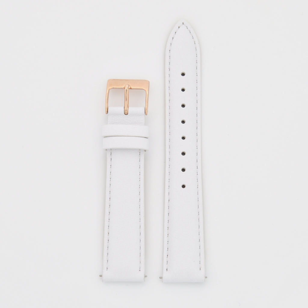 18mm Strap - White Leather / Rose Gold