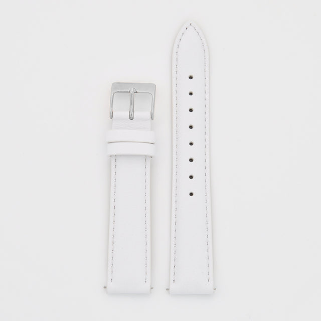 18mm Strap - White Leather / Silver