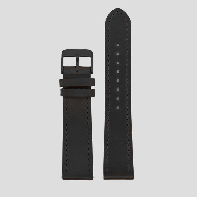 20mm Strap - Black Leather / Black