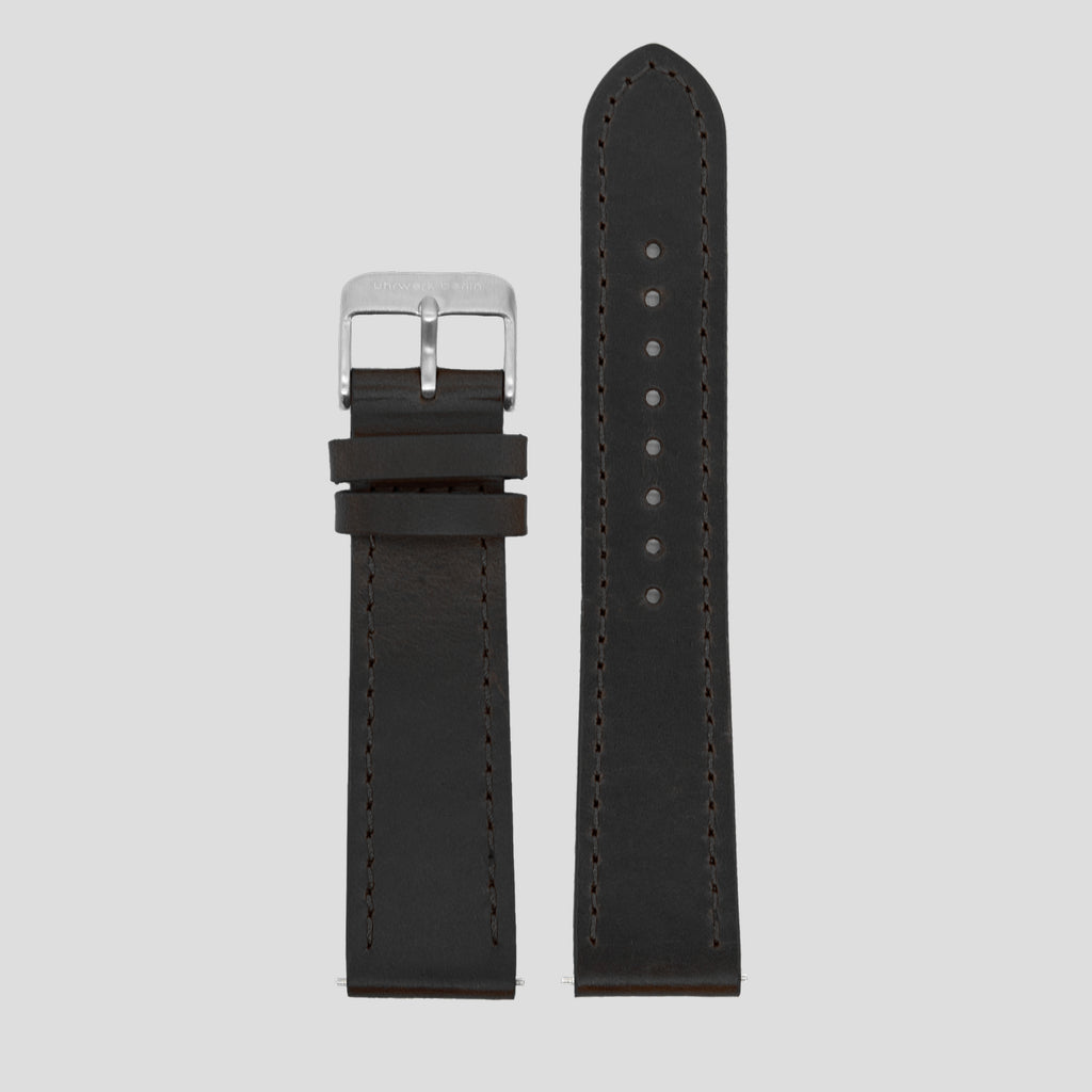 20mm Strap - Black Leather / Silver