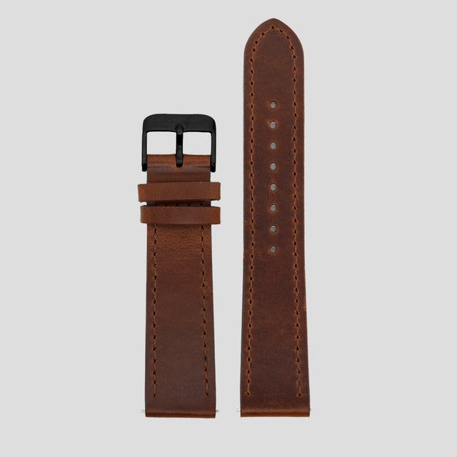20mm Strap - Brown Leather / Black