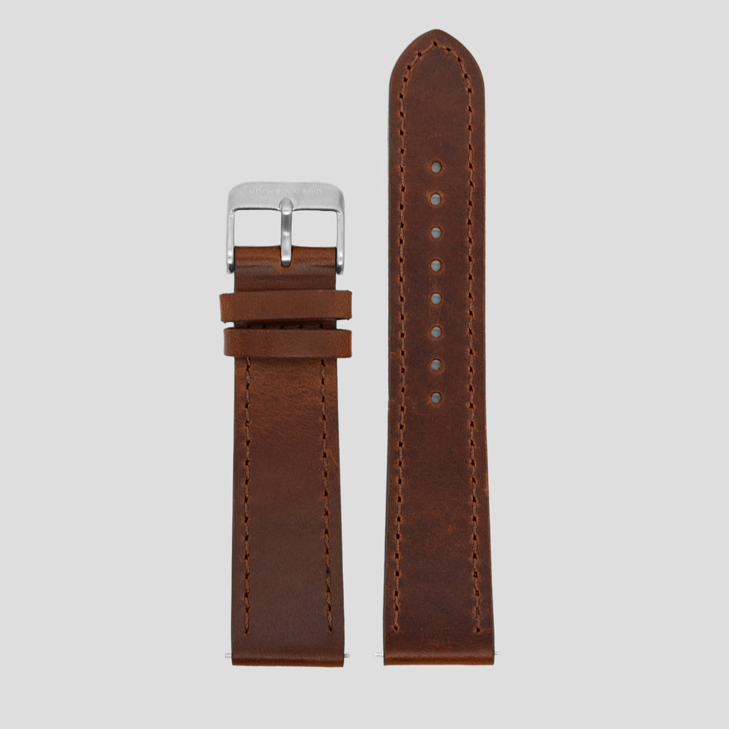 20mm Strap - Brown Leather / Silver