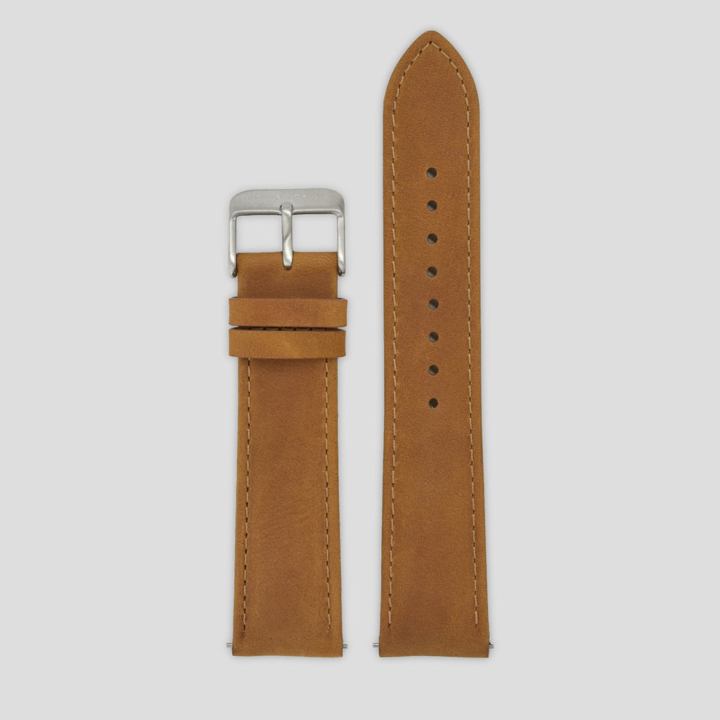 20mm Strap - Camel Leather / Silver